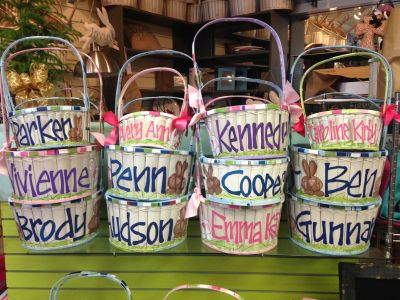 Hand-painted, one-of-a-kind Easter baskets