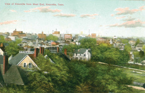 "A period postcard of ""West End,"" before it was known as Fort Sanders, looking toward a downtown skyline hardly recognizable today."
