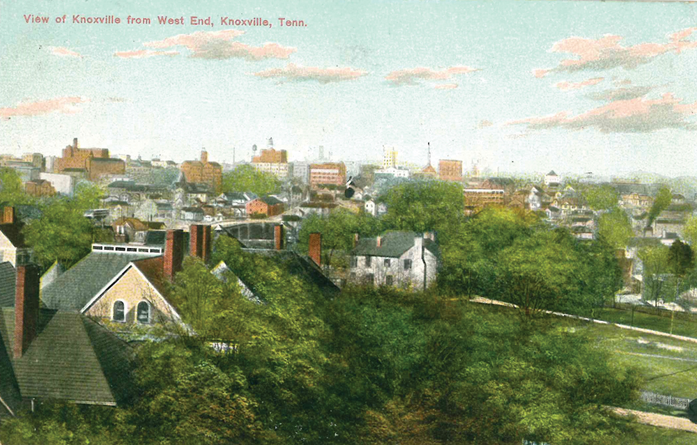 """A period postcard of """"West End,"""" before it was known as Fort Sanders, looking toward a downtown skyline hardly recognizable today."""