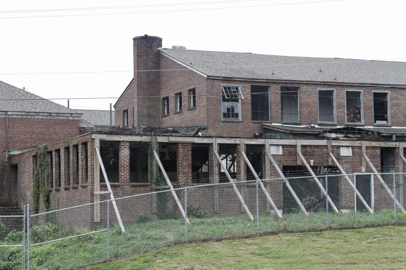 Over the years the Old South High School in South Knoxville has fallen into disrepair. Photo by Clay Duda.
