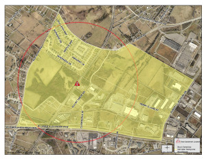 This map, provided by the City of Maryville and Blount County, shows an area where residents on Tuesday were being advised not to drink well water until further testing. Acrylonitrile contamination was found in one well near the site of a CSX train derailment and tank car fire that caused the evacuation of 5,000 residents last week.