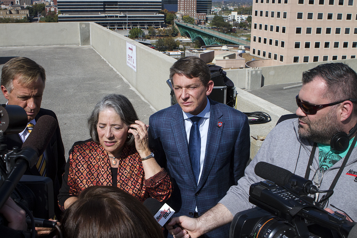 Knoxville Mayor Madeline Rogero, at center, answers questions from the media following Friday's press conference.