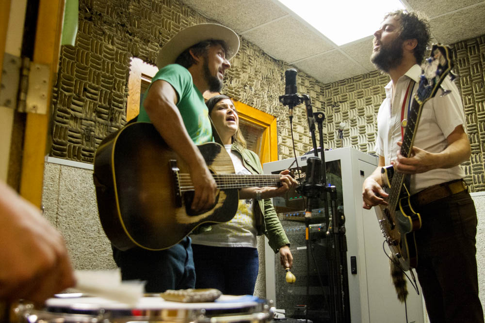 Four of the six members of the Black Lillies play live in the WUTK studios at the University of Tennessee on the release day of the band's latest album, Hard to Please. Photo by Clay Duda.