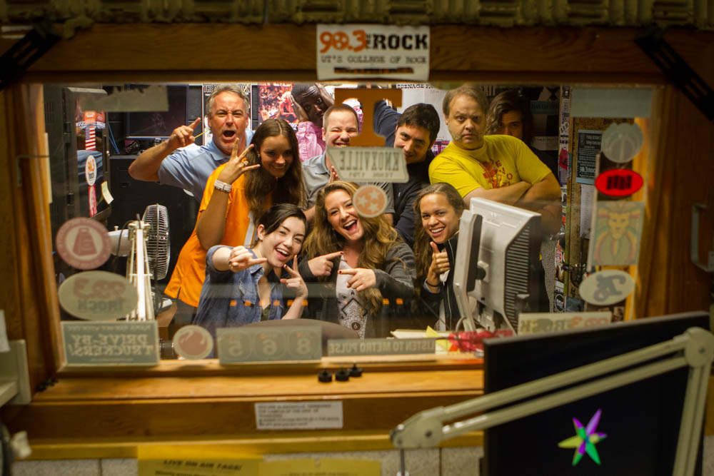 WUTK DJs cram into the college radio's small studio space on National College Radio Day, Fri., Oct. 2, 2015. Photo by Clay Duda.