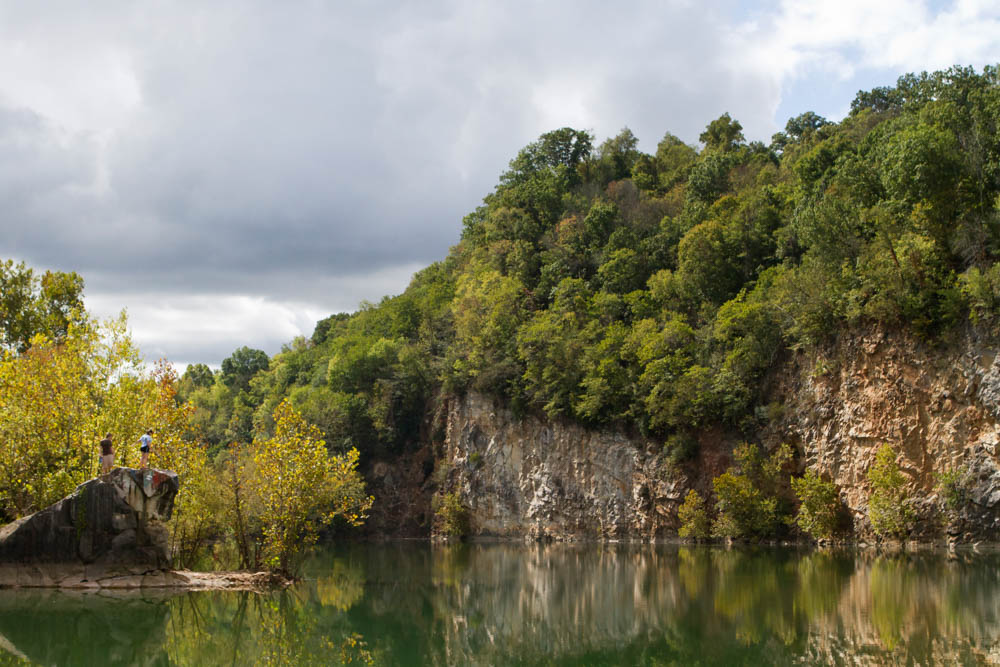 Joel Seeber, 19, and Cierra Simpson, 20, of Clinton, take in expanse of Mead's Quarry on the fringes of Knoxville's Urban Wilderness on Weds., Sept. 30, 2015. Photo by Clay Duda.