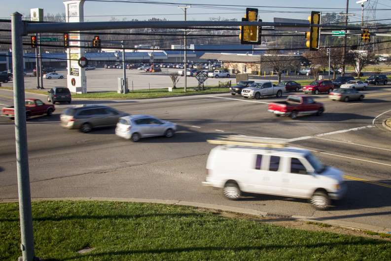 Morning commuters pass the intersection of Chapman Highway and Green Drive, one of the most crash-prone areas along the high-traffic roadway.