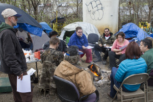 A meeting of the Homeless Collective in Knoxville. The group was started in conjunction with the East Tennessee Peace and Justice Center to help homeless men and women discuss and address issues affecting their community. Photo by Clay Duda.