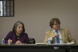 Knoxville Mayor Madeline Rogero and Michael Dunthorn, head of the city's Office on Homelessness, listen to a presentation during a quarterly meeting of the Mayor's Roundtable on Homelessness in January. Photo by Clay Duda.