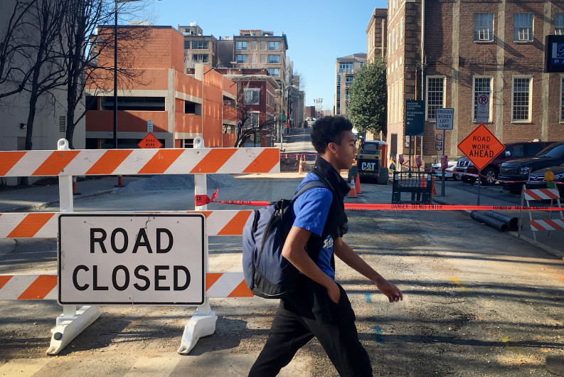 A road closed sign marks construction of KUB's Century II work in downtown Knoxville, Feb. 29, 2016. Iphone photo by Clay Duda.