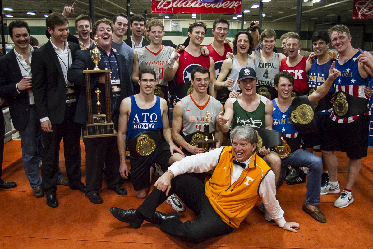 This year's champion class poses for a photo during the last night of the 36th Ace Miller Memorial Fraternity Boxing Tournament on Saturday, Feb. 27, 2016.