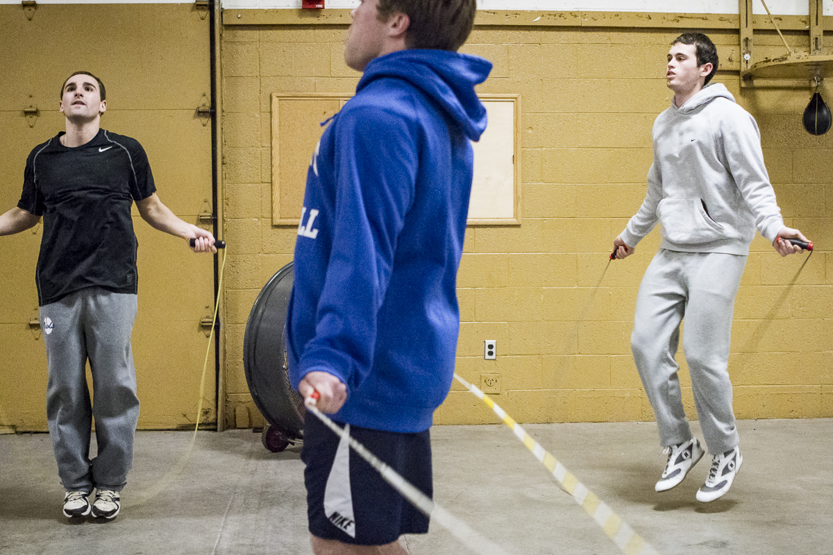 Mitchell Sexton, at right, and fellow Sigma Alpha Epsilon boxers Rhett Waldron, center, and Bud Harris warm up during a training session at Golden Gloves Boxing Arena on Thursday, Feb. 18, 2016.