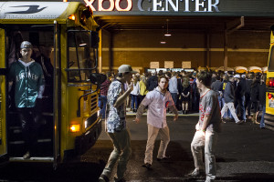 Busloads of UT students unload in front of the Knoxville Expo Center on the first night of the Ace Miller Memorial Fraternity Boxing Tournament, Feb. 25, 2016.