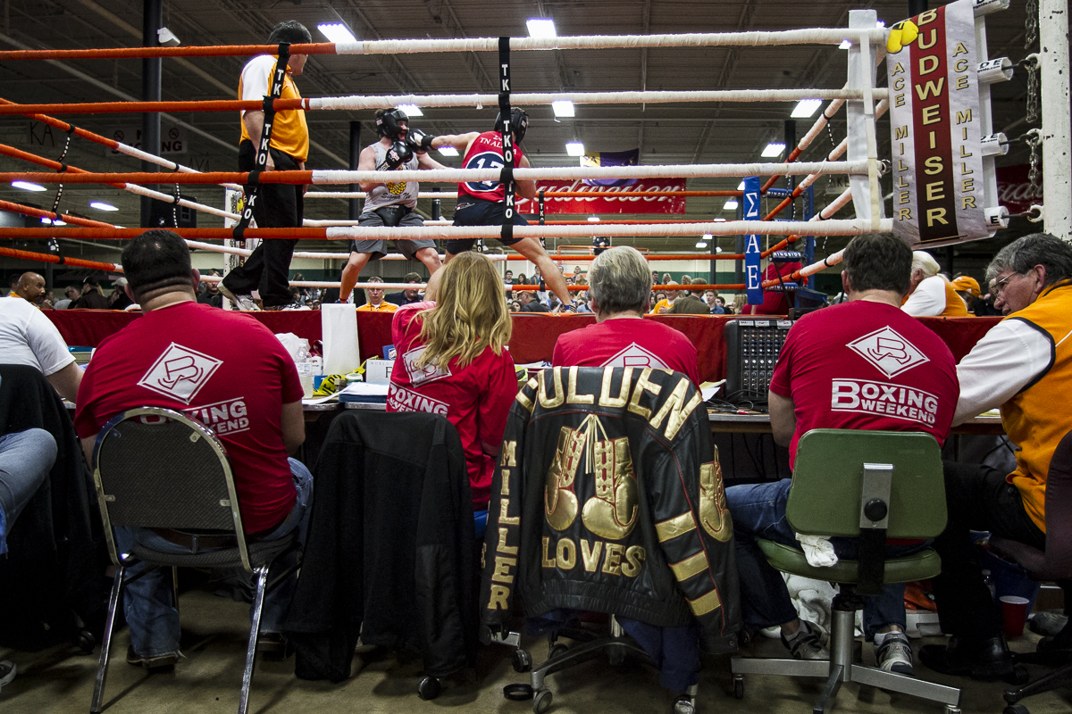A leather jacket once owned by the late Ace Miller, a local boxer who the championship is named after, hangs ringside during the 36th Ace Miller Memorial Fraternity Boxing Tournament on Feb. 27, 2016.