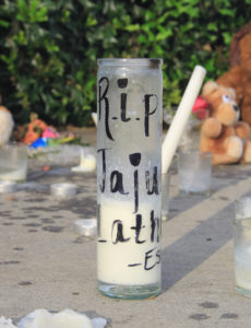 A shrine placed at Danny Mayfield Park in memory of shooting victim Jajuan Latham.