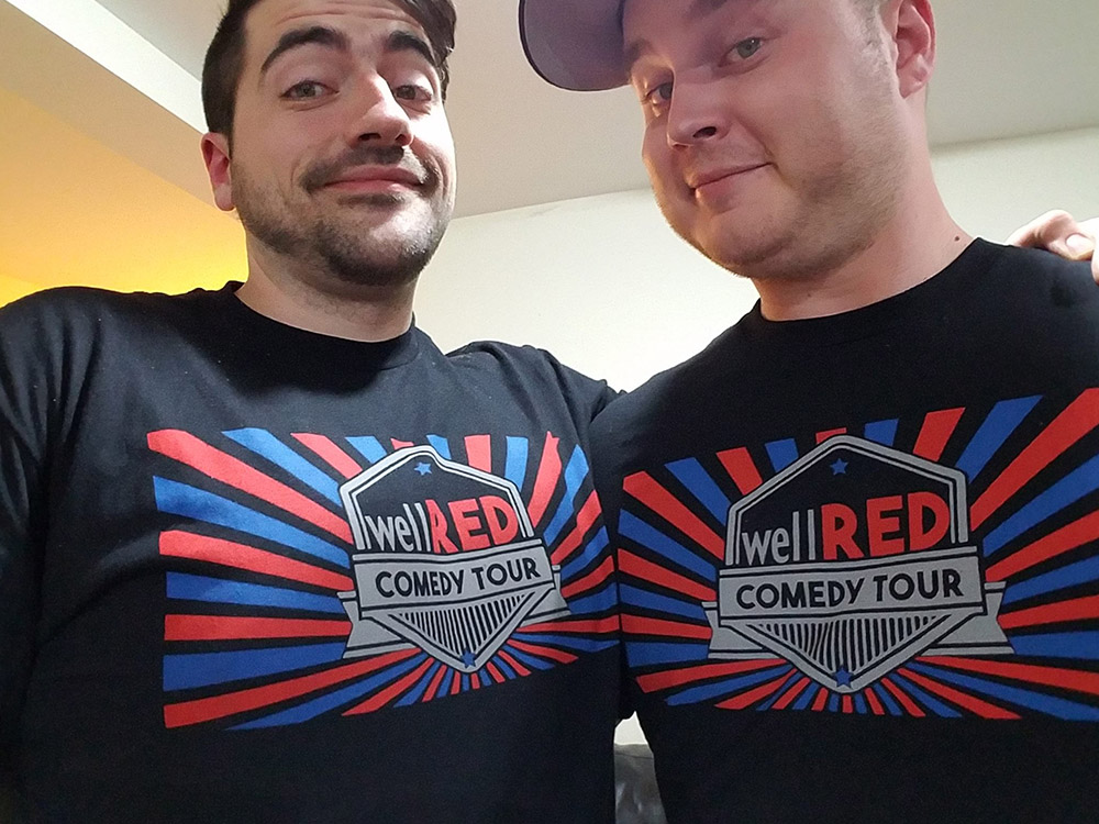 Trae Crowder (left) with his fellow WellRED Tour comedian, Corey Forrester.