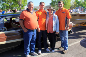 The Owen family and Brad Owen's 1965 Ford Country Squire wagon. From left: Doug, Wes, Penny, and Brad.