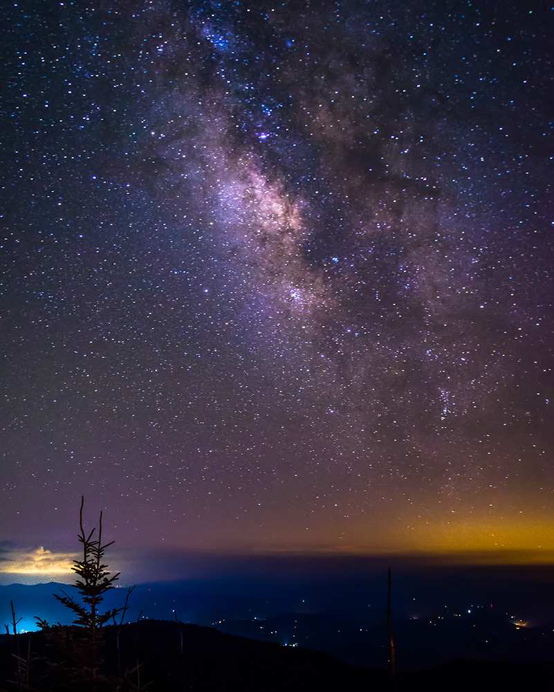 A view of the Milky Way from Clingmans Dome in the Great Smoky Mountains National Park—one that can't be seen in more well-lit populous areas.