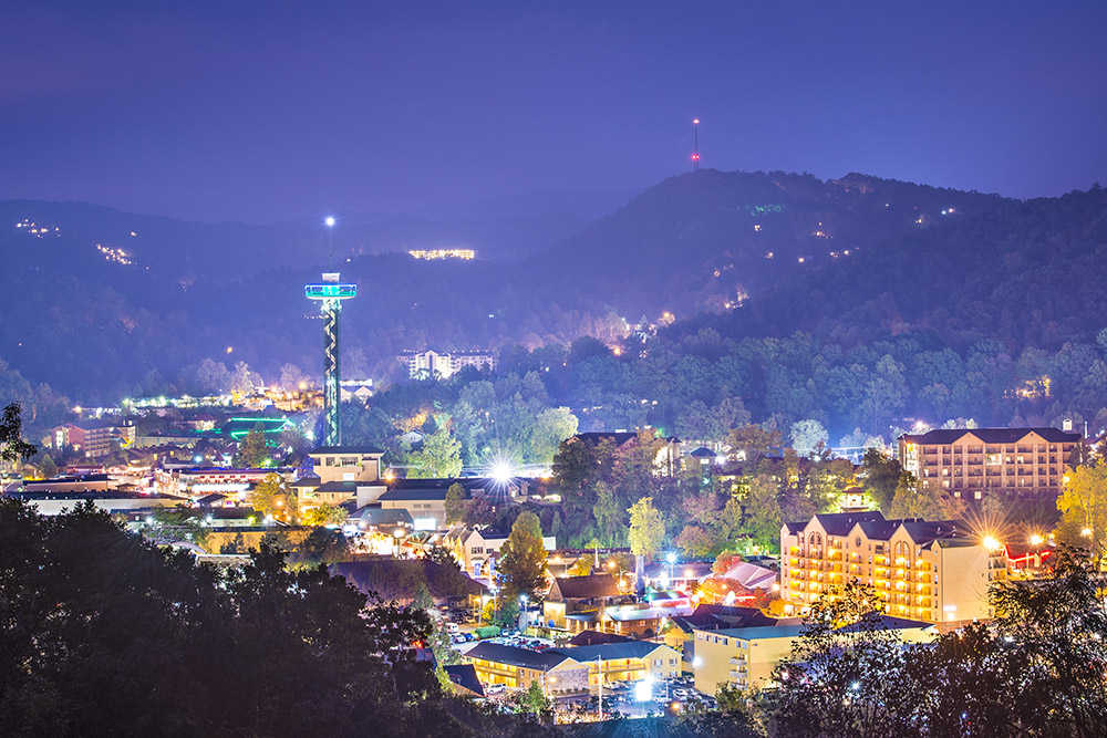The many lights of Gatlinburg in the Smoky Mountains.