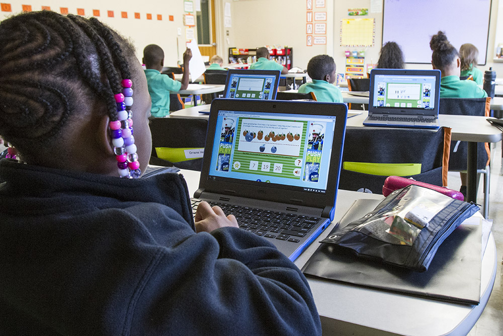 Students at Emerald Academy have access to a lot of technology—there are 10 devices in each elementary classroom and a Chromebook for every middle school student.