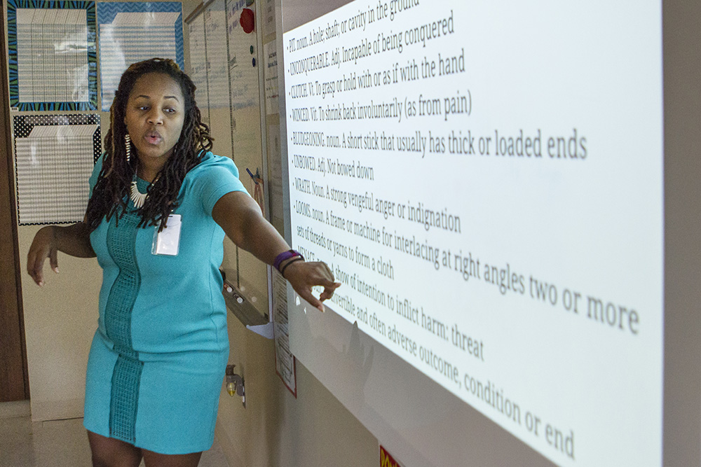 Teacher Moniqueca Hicks leads a language arts class for sixth graders. This is the first academic year Emerald has added a middle school class, starting with sixth grade. It will add two new classes each year, eventually offering a complete K-8 lineup.
