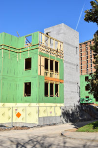 White Hall undergoes construction (Jan. 5, 2016)—note the use of cheaper wood framing.
