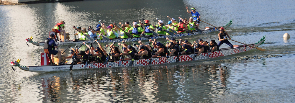 Charlotte Fury and Chattanooga Dragon Boat Club fight it out.