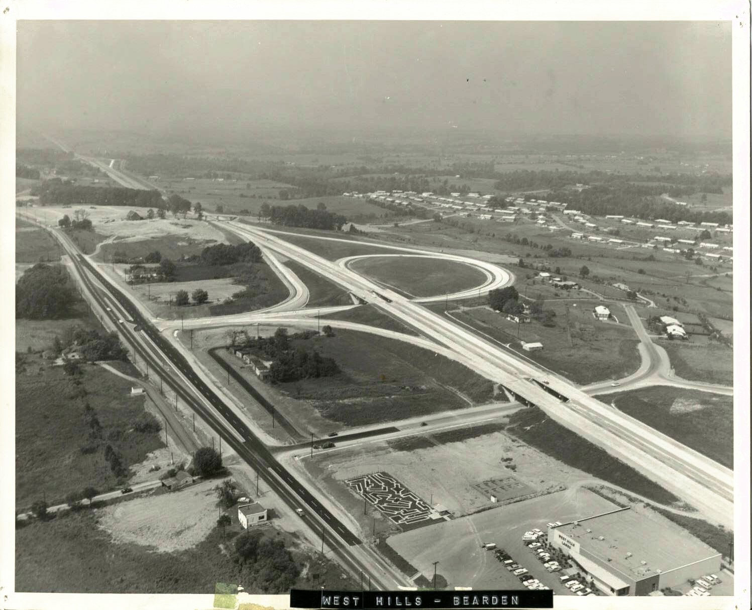 Aerial photograph of the I-40 West Hills interchange (c. 1970).