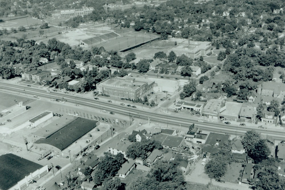 An undated aerial view of Park City (bottom left), include the Standard Knitting Mill to the north and Myers Stadium (left of center).