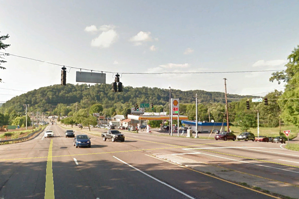 Knoxville city limits, today: the intersection of Rifle Range Drive and Brown Gap Road.