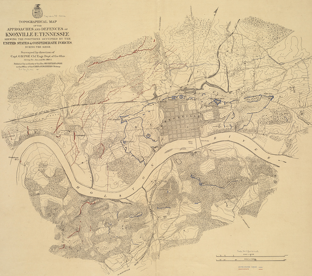 "An 1863 topographical map of Knoxville (far left) ""Shewing [sic] the Positions Occupied by the United States & Confederate Forces during the Siege."""