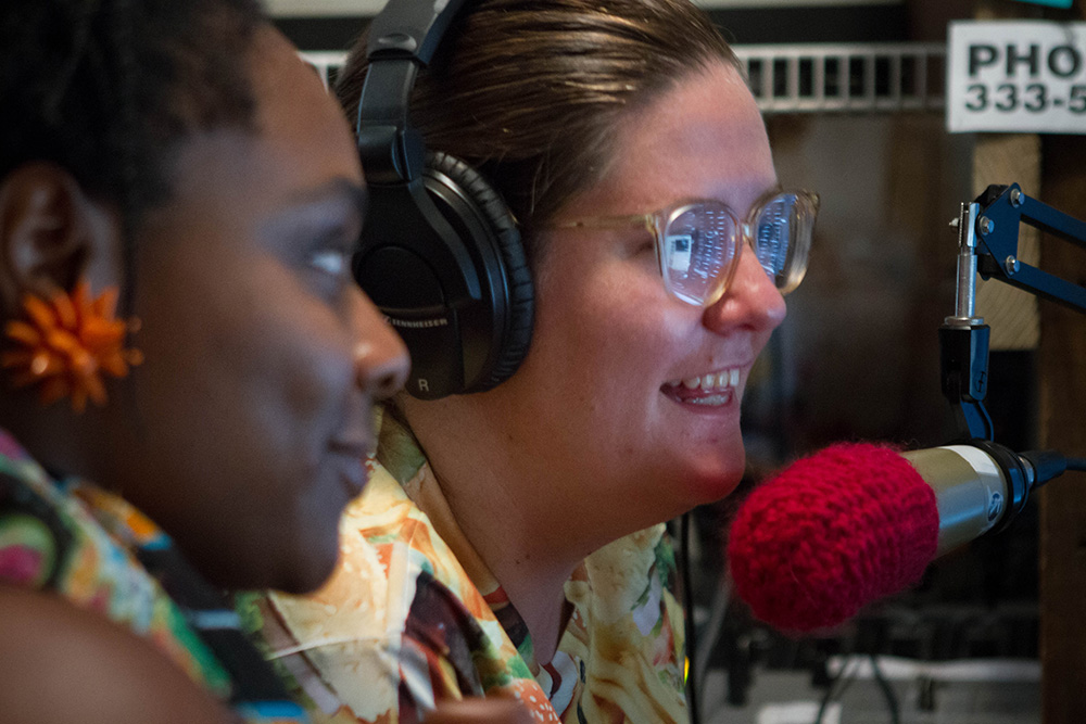 DJs Holly Rainey and Yasameen Hoffman talk to listening land during their weekly radio show, Down 2 Brunch, on WOZO 103.9 in Knoxville.