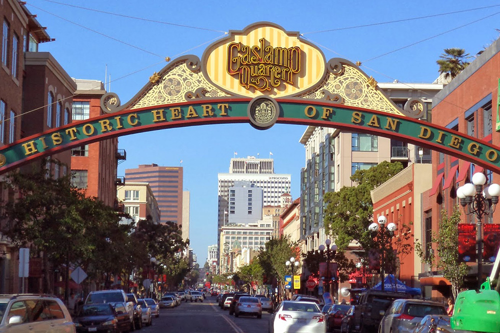 Entrance to Gaslamp Quarter of San Diego—without overhead utilities.